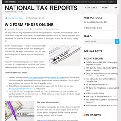 W-2 Form Finder Online – National Tax Reports
