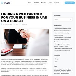 Finding a Web Partner for your Business in UAE on A Budget - Web Design Dubai, Web Development in UAE