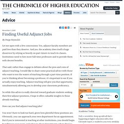 Finding Useful Adjunct Jobs - Advice