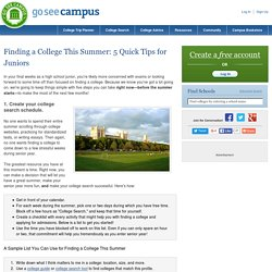 Finding a College this Summer: 5 Quick Tips for Juniors