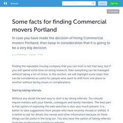 Some facts for finding Commercial movers Portland