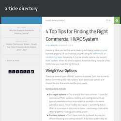Top 4 Tips for Finding the Right Commercial HVAC System