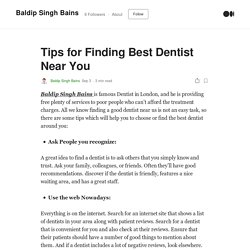 Tips for Finding Best Dentist Near You