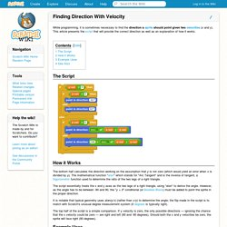 Finding Direction With Velocity - Scratch Wiki