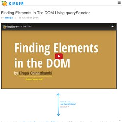 Finding Elements In The DOM Using querySelector