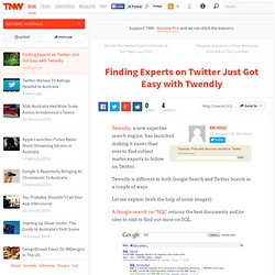Finding Experts on Twitter Just Got Easy with Twendly