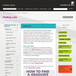 Finding a job Information