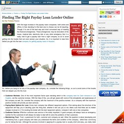 Finding The Right Payday Loan Lender Online by Day Fastpay
