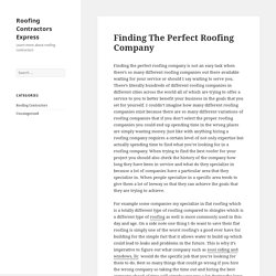 Finding The Perfect Roofing Company