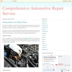 Finding Quality Auto Repair Shops
