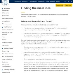 Finding the Main Idea When Reading: Columbia College