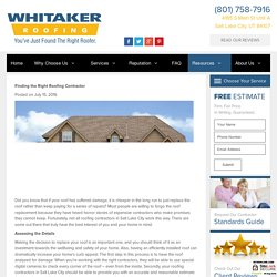 Finding the Right Roofing Contractor