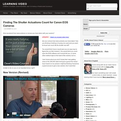 Finding The Shutter Actuations Count for Canon EOS Cameras