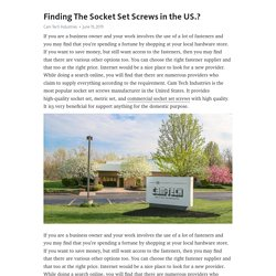 Finding The Socket Set Screws in the US.?