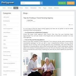 Tips for Finding a Travel Nursing Agency