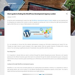 Short guide to finding the WordPress Development Agency London