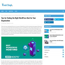 Tips for Finding the Right WordPress Host for Your Organization