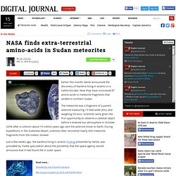 NASA finds extra-terrestrial amino-acids in Sudan meteorites
