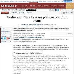Sociétés : Findus certifiera tous ses plats au bœuf fin mars
