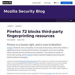 Firefox 72 blocks third-party fingerprinting resources