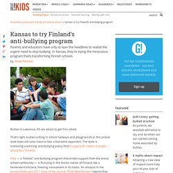 Kansas to try Finland's anti-bullying program