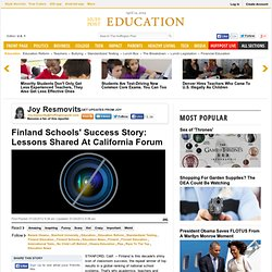 Finland Schools' Success Story: Lessons Shared At California Forum