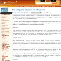Fire Extinguisher Inspection- What to Look For