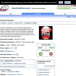 S K Fire Protection: Classified ad