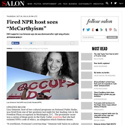 "Fired NPR host sees ""McCarthyism"" - Occupy Wall Street"