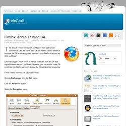 Firefox: Add a Trusted CA
