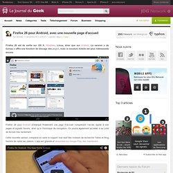 Firefox 26 pour Android, avec une nouvelle page d'accueil