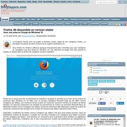 Firefox 40 disponible en version stable avec une prise en charge de Windows 10
