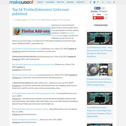 Top 16 'Firefox Extensions' Links ever published » MakeUseOf.com