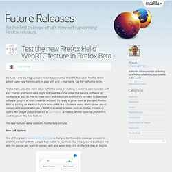Test the new Firefox Hello WebRTC feature in Firefox Beta