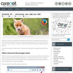 Firefox 29 : retrouver ses add-ons SEO