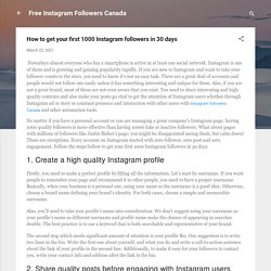 How to get your first 1000 Instagram followers in 30 days