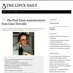 The First Linux Announcement from Linus Torvalds