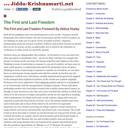 The First and Last Freedom - Jiddu Krishnamurti