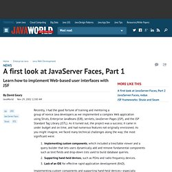 A first look at JavaServer Faces, Part 1