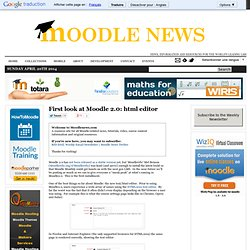 First look at Moodle 2.0: html editor