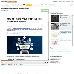 How to Make Your First Medical Website a Success