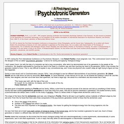 A First-Hand Look at Psychotronic Generators