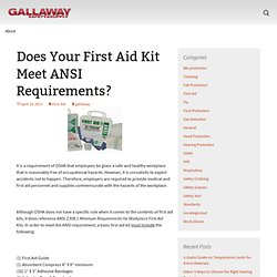 Does Your First Aid Kit Meet ANSI Requirements?