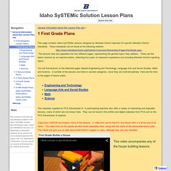 1 First Grade Plans - Idaho SySTEMic Solution Lesson Plans