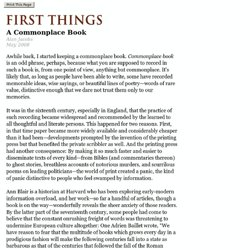 First Things - A Commonplace Book
