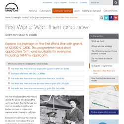 First World War: then and now