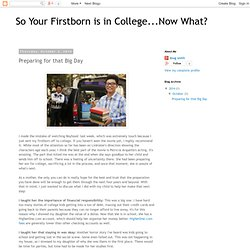 So Your Firstborn is in College...Now What?: Preparing for that Big Day