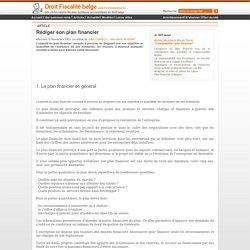 www.Droit-Fiscalite-Belge.com - Rédiger son plan financier