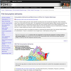 VIRGINIA DEPARTMENT OF HEALTH 30/07/11 Consumption Advisories and Restrictions in Effect for Virginia Waterways