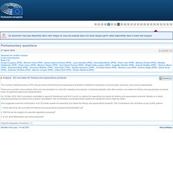 PARLEMENT EUROPEEN - Réponse à question E-002360-18 EU eco-label for fishery and aquaculture products